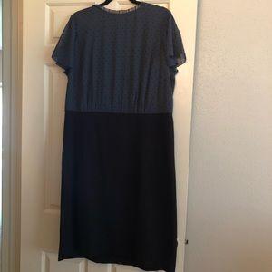 Unique faux 2 piece dress. Black and blue